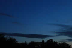 Venus Jupiter Moon Conjunction Royalty-vrije Stock Fotografie