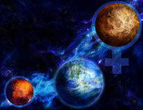 Venus, Mars and Earth Stock Images