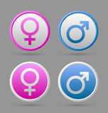 Venus and Mars female and male symbols. Venus and Mars female and male symbol badges  on grey background Royalty Free Stock Photos
