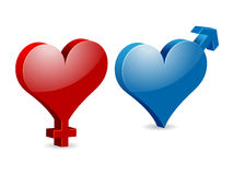 Venus and Mars Valentine's hearts Royalty Free Stock Photo
