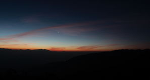 Venus, night sky, himalayas, nepal, space, sunrise, sunset, planet. Sunrise Venus and Mercury over the Himalayas in Nepal Royalty Free Stock Images