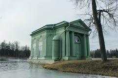 Venus Pavilion on the White Lake in Gatchina park, Gatchina. stock image