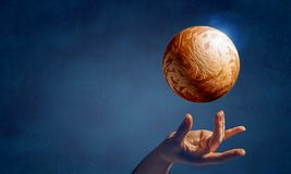Venus planet in hand vector illustration