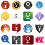 Venus Planetary Sign Icon Set Royalty Free Stock Photography