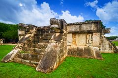 Venus Platform in the Great Plaza of Chichen Itza. Mexico Royalty Free Stock Images