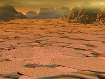 Venus surface landscape. With hot atmosphere and rocks.3d illustration Royalty Free Stock Photography