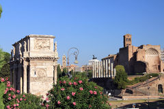 Venus Temple and Constantine Arch. In Rome, Italy Royalty Free Stock Image