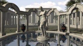 Venus van Milo en een oude Griekse tempel Royalty-vrije Stock Afbeeldingen