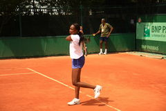 Venus Williams training at Roland Garros 2012. Venus Williams training before his game with her father at Roland Garros 2012 (31 may 2012 Royalty Free Stock Photo