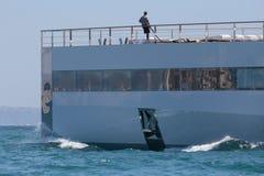 Venus 015. Venus yacht deck detail while leaving palma de mallorca´s port Royalty Free Stock Photos