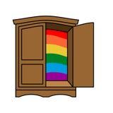 Venuta fuori simbolo del guardaroba LGBT Apra la porta di gabinetto Esca del wa Immagine Stock