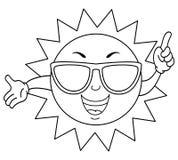 verão bonito colorindo Sun com óculos de sol ilustração stock