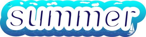 Verão branco e azul da rotulação ilustração royalty free