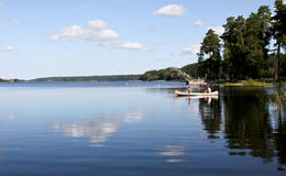 Verão da canoa. Fotos de Stock Royalty Free