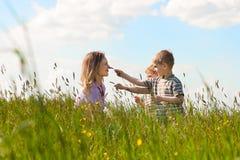 Verão da família - jogando no prado Fotos de Stock