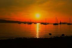 verão da praia do mar do por do sol Fotos de Stock Royalty Free
