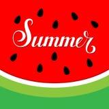 verão da rotulação no fundo da melancia Foto de Stock Royalty Free
