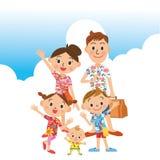 verão da viagem nas famílias ilustração do vetor