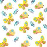 verão de tiragem da aquarela dos insetos do teste padrão de borboletas ilustração stock