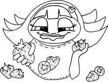 verão delicioso, morango Menina do guloso Coloração no branco ilustração stock
