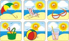 Verão do ícone & Sun ajustados, vetor Fotografia de Stock