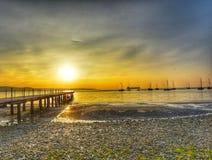 verão do por do sol dos barcos do oceano do mar bonito Fotografia de Stock