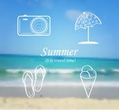 verão e grupo do curso de ícones - falhanços de aleta Imagens de Stock Royalty Free