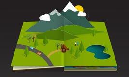 verão emergente da mola da montanha da floresta do livro Foto de Stock Royalty Free