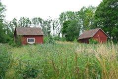 Verão escandinavo, casas vermelhas velhas tradicionais Imagem de Stock Royalty Free