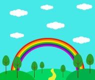 verão Forest Hillside Landscape Flat Style do arco-íris ilustração royalty free