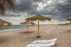 verão frio perto do mar frio, região de Donetsk, Ucrânia Fotos de Stock Royalty Free