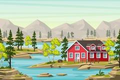 verão Landsape no Moutains Ilustração do Vetor