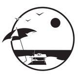 Verão, mar, windsurfing. Vetor. Fotografia de Stock Royalty Free