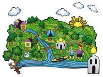 verão na vila Resto pelo rio Fotos de Stock Royalty Free