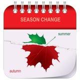 verão-outono do calendário da Rasgo-folha Imagens de Stock