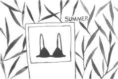 verão preto tirado da folha da árvore do sutiã das plantas da aquarela mão simples bonito Imagens de Stock Royalty Free