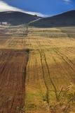 VERÃO RURAL DA PAISAGEM Entre Apulia e Basilicata: país montanhoso com campo de cereal Italy fotos de stock