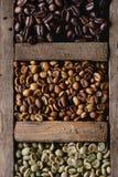 Veränderung von Kaffeebohnen stockbild