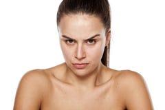 Verärgert ohne Make-up Stockbild