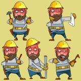 Verärgerte Arbeitskraft der Karikatur im Sturzhelm in den verschiedenen Haltungen stock abbildung