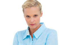 Verärgerte blonde schauende Kamera Lizenzfreie Stockbilder