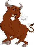 Verärgerte braune Stierkarikatur Stockfotos