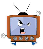 Verärgerte Fernsehkarikatur Stockfoto