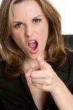 Verärgerte Frau, die Finger zeigt lizenzfreie stockfotos