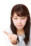 verärgerte Frau fordert etwas Stockfotos