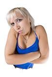 Verärgerte Frau mit den Armen gekreuzt Stockfoto