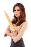 Verärgerte Geschäftsfrau mit Rolle Lizenzfreie Stockfotos