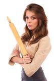 Verärgerte Geschäftsfrau mit Rolle Stockfotos