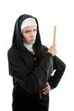 Verärgerte Nonne mit Tabellierprogramm stockfotografie