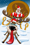 Verärgerte Santa Claus Christmas Sleigh Exhausted Reindeer Stockfoto
